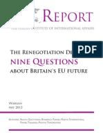 PISM Report-The Renegotiation Delusion Nine Question About Britain's EU Future Nine Questions