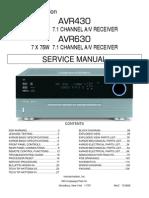 Service Manual Hrman Kardon  AVR 430, AVR 630