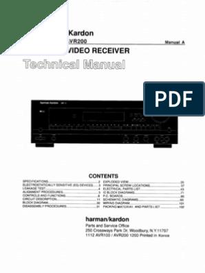 Service Manual Hrman Kardon AVR 100, AVR 200 ... on