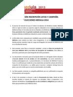 INFORMACIÓN INSCRIPCIÓN LISTAS Y CAMPAÑA MEDULA 2014