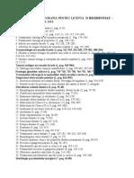 Tematica Si Bibliografia Pentru Licenta Si Rezidentiat