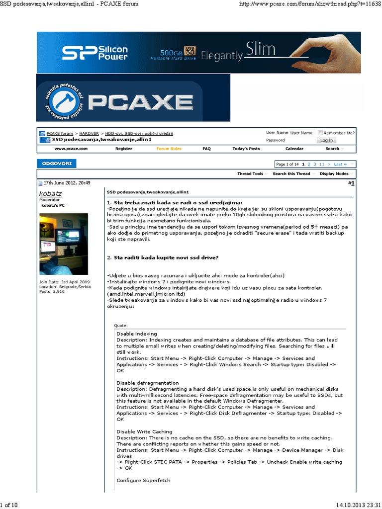 SSD Podesavanja,Tweakovanje | Cache (Computing) | Solid