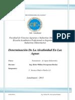 Determinacion de La Alcalinidad en El H2O