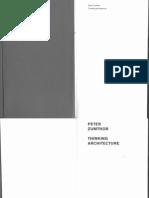 Peter Zumthor Thinking Architecture