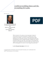 The Commonwealth in Troubling Times and the Controversy Surrounding Sri Lanka