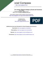 La sociologie de la religion comme Théorie Critique (L'Ecole de Francfort)