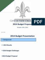 New Orleans Mayor Mitch Landrieu's 2014 Operating Budget Presentation