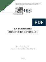 La fusion des sociétés en difficulté - Julien KOCH - M2 Droit des affaires et fiscalité - Paris 1
