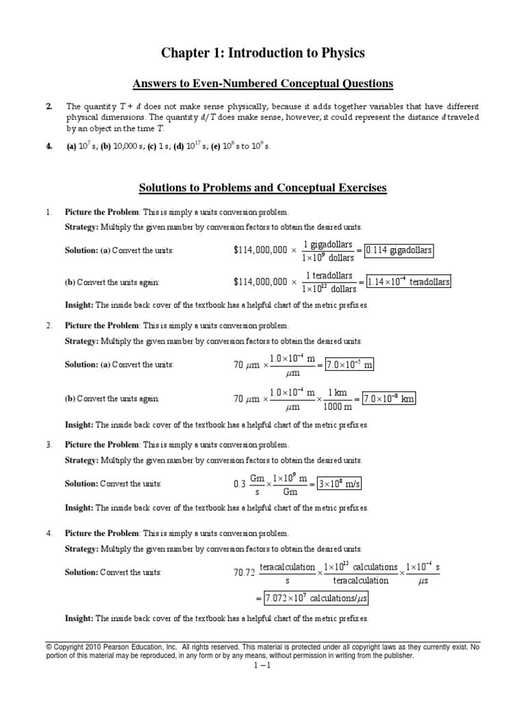 Physics Chapter 1 Answers | Significant Figures | Equations