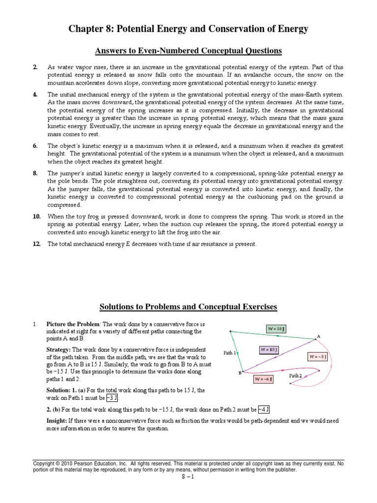 Physics Chapter 8 Answers | Potential Energy | Mass