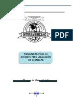 PREGUNTAS PARA II EXAMEN TIPO ADMISIÓN DE CIENCIAS