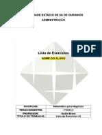 Modelo de CAPA - Lista de Exercícios - ADM 2013.2 (1)