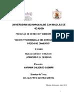INCONSTITUCIONALIDADDELARTICULO1339DELCODIGODECOMERCIO