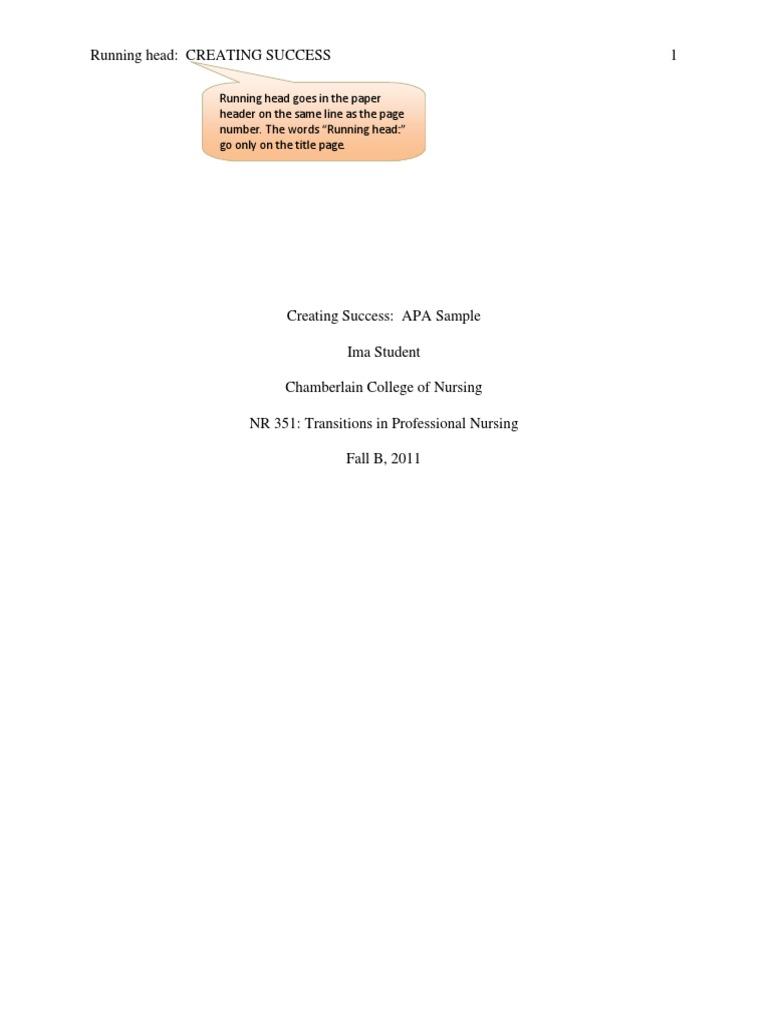 apa paper format title page