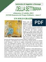 Comunità Pastorale di Uggiate e Ronago Agenda della settimana XXVIII Tempo Ordinario 13 Ottobre