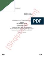 Progres-raporti i Komisionit Europian për statusin kandidat të Shqipërisë