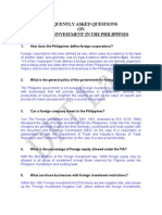 Faqs on Foreign Investment in the Philippines