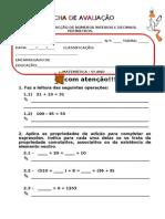 Ficha de Avaliação - adição e subtracção