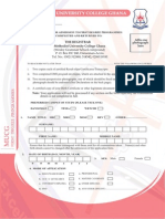 First Degree Applicationform