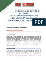 Enmiendas de CCOO a La Ley de Seguridad Privada