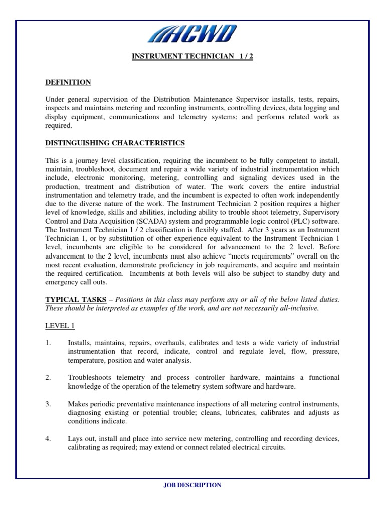 electrical technician job descriptions
