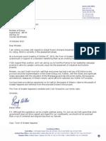 Hillier's Letter to Minister Chiarelli Regarding Dorland Industrial Wind Turbine Project