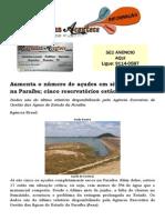 Aumenta o número de açudes em situação crítica na Paraíba; cinco reservatórios estão secos