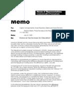 Rendell Tax Justification Memo 072409