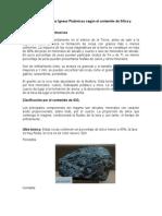 Clasificacion de Rocas Ígneas Plutónicas según el contenido de Sílice y composición mineral