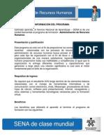 Información del Programa - Administración de Recursos Humanos