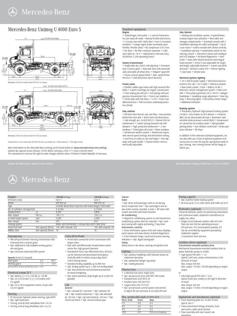 Unimog Techdata u4000 Euro5 1209 en PDF
