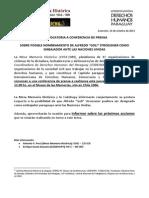 Convocatoria a Conferencia de Prensa Sobre Posible Nombramiento de Alfredo Goli Stroessner