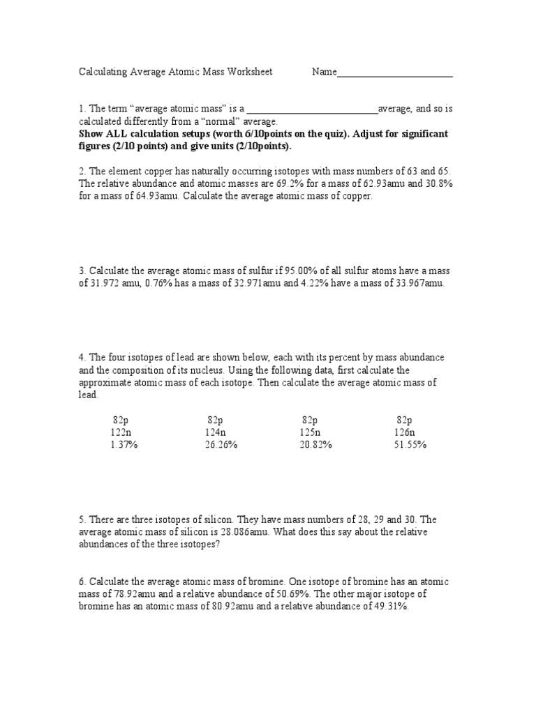 Calculating Average Atomic Mass Worksheet Name Doc Atomic Mass Unit Isotope