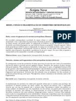 Redes, coesão e fragmentação do território metropolitano (Resumo