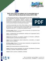 Alcaldía de Bello inicia mesas de trabajo con la comunidad para el diseño del Plan de Desarrollo Cultural 2014- 2024