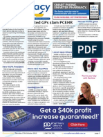 Pharmacy Daily for Thu 17 Oct 2013 - United GP\'s slam PCEHR, Covad secures funding, Locum app released, Pyjamas, breasts