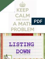 """Problem Solving Technique """"Listing Down"""""""