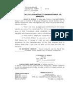 Affidavit of Aggregate Landholdings of Vendor