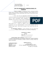 Affidavit of Aggregate Landholdings of Vendor