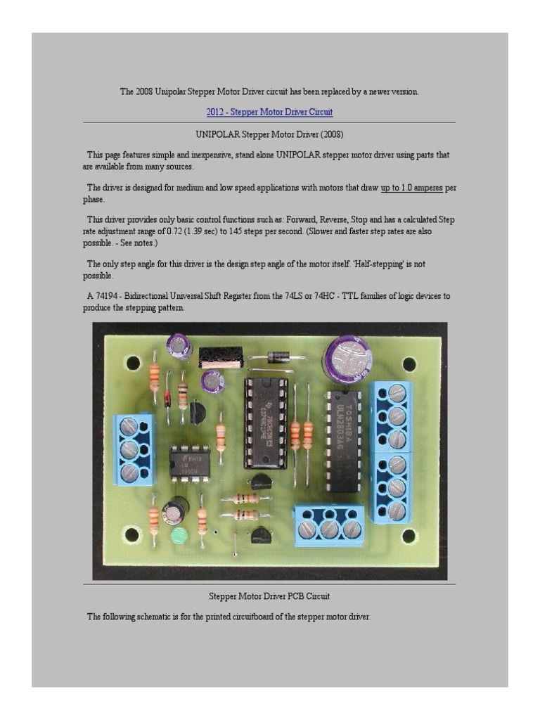 Circuit Stepper Motor Driver | Capacitor | Electronic Circuits on