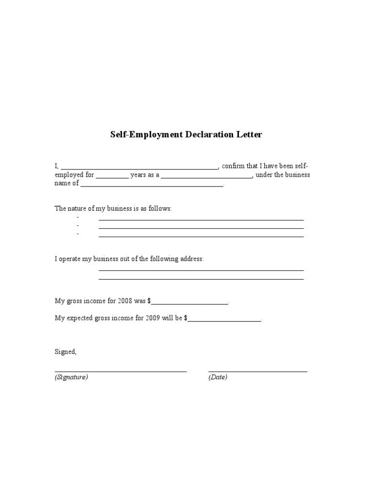 Self employment declaration altavistaventures Image collections