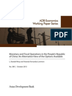 Monetary and Fiscal Operations in the People's Republic of China