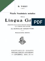 Todt - Piccolo Vocabolario Metodico Della Lingua Greca