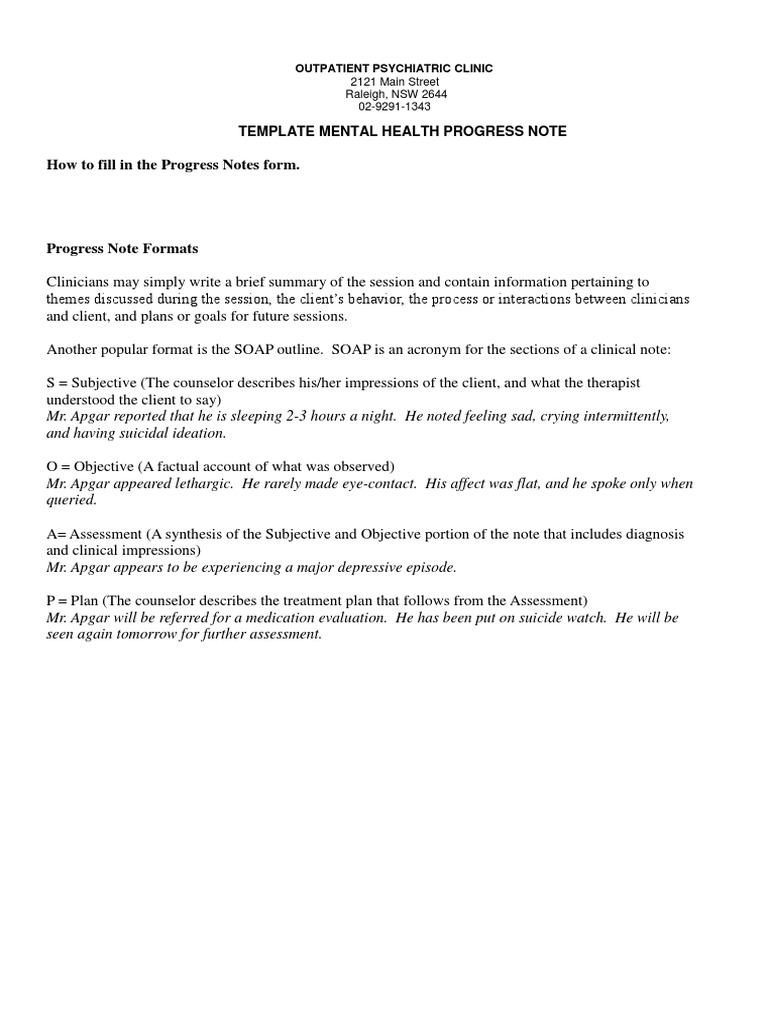 sample mental health progress note anxiety psychotherapy