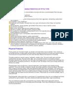 Characteristics of Pitta Type