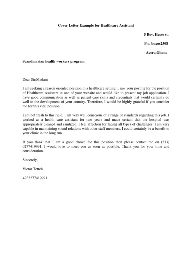 Cover Letter Example For Healthcare Assistant