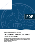 list of  ship certificates