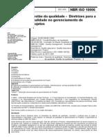 ABNT NBR ISO 10006 - Gestao Da Qualidade - Diretrizes Para a Qualidade No Gerenciamento de Projetos