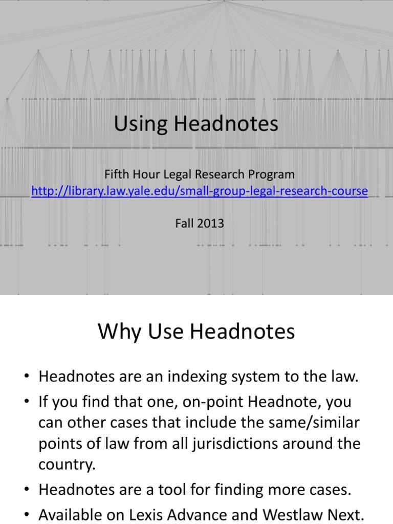 using headnotes