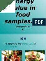 Energy Value in Food